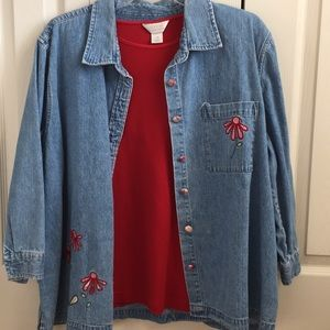 Women's size 1x  Denim Jacket and red top.